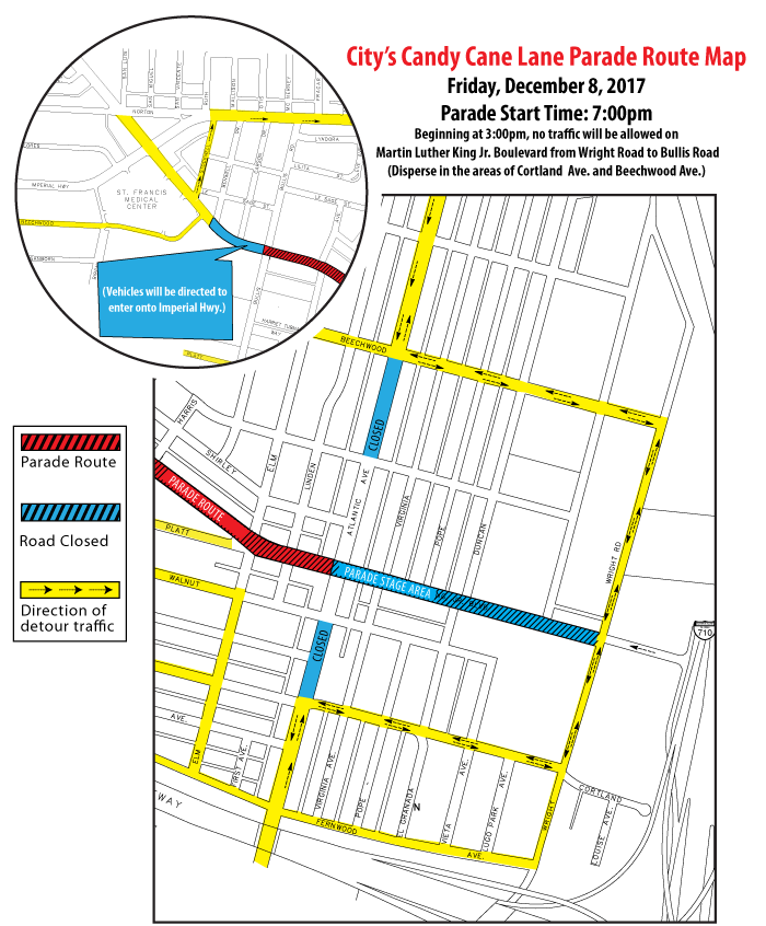 Candy Cane Lane Parade Route Map