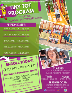 Tiny Tot Sign-Ups – First Session Starts September 9 | City