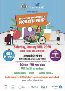Lynwood Community Health Fair Saturday January 18, 2020 from 10:00am to 2:00pm Lynwood City Park