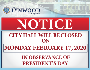 City Hall Closure- City Hall will Be closed on February 17, 2020 in observance of President's Day