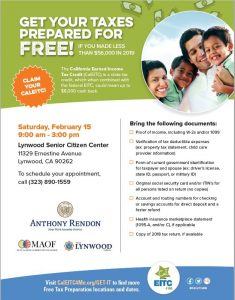 Get Your Taxes Prepared for Free! The City of Lynwood, California Assembly Member Anthony Rendon and the Mexican American Opportunity Fund invite you to get your taxes prepared for free (if your household income is less than $56,000). Date: Saturday, February 15 Time: 9:00am-3:00pm Place: Lynwood Senior Citizen Center Schedule your appointment: Call 323-890-1559 See the flyer for details on what to bring to your appointment.