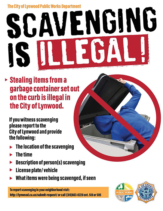 SCAVENGING IS ILLEGAL! Stealing items from a garbage container set out on the curb is illegal in the City of Lynwood. If you witness scavenging please report to the City of Lynwood and provide the following: • The location of the scavenging • The time • Description of person(s) scavenging • License plate/ vehicle • What items were being scavenged, if seen To report scavenging in your neighborhood visit: http://lynwood.ca.us/submit-request/ or call (310)603-0220 ext. 518 or 505
