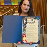 Lynwood High School Spanish teacher Viviana Vargas accepted the proclamation which recognizes the City's ethnic diversity and quality of life enhanced by the richness and beauty of the Latino culture.